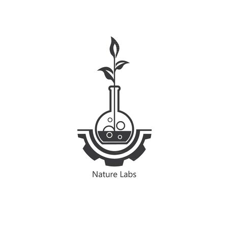 Lab nature icon template design. sprout leaf. simbol, badges, ecology. 일러스트