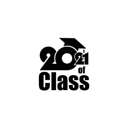 Class of 2021 with Graduation Cap and text. Flat design on white background
