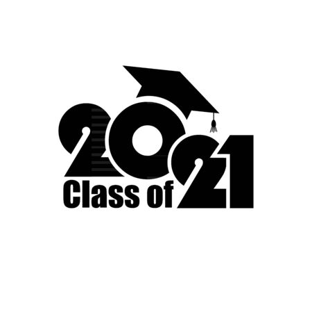 Class of 2021 with Graduation Cap. Flat simple design on white background