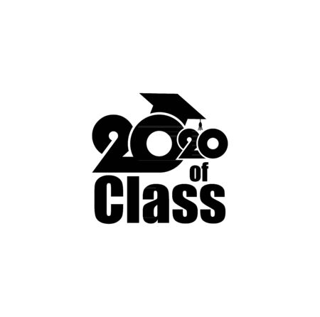 Class of 2020 with Graduation Cap and text. Flat design on white background