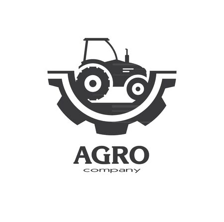 Tractor flat icon element design. Sign or Symbol design for idustrial company or agriculture company. Farm, farming. Vector illustration 일러스트