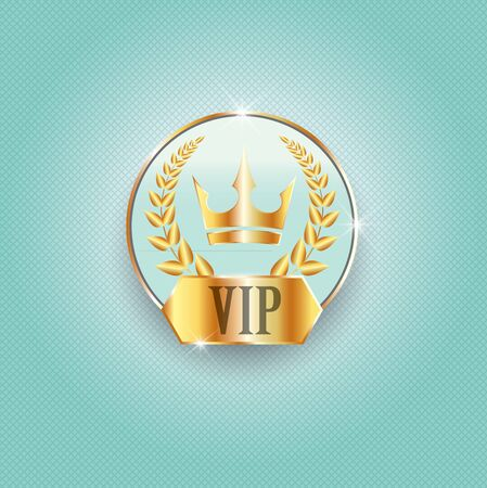 Vip label with golden crown, laurel wreath. Luxury design for invitation, greeting card,  poster, brochure, label. Vector premium card design. 일러스트