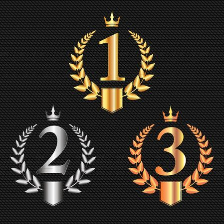 Golden, silver and bronze crowns, laurel wreaths,  with place for text and first, second and third place signs, symbol set.  Winner podium symbols on dark background. Vector illustration.