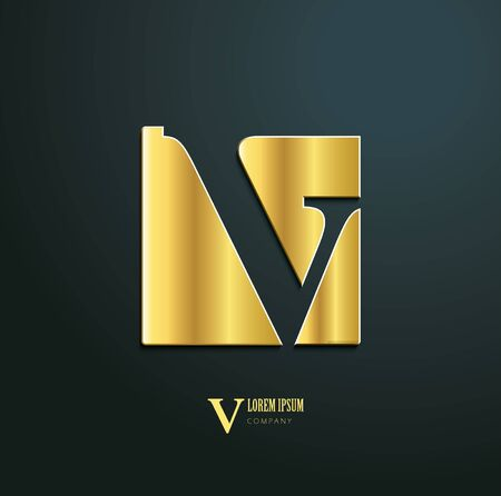 Vector icon. Sign initial letter V. Icon for business company. Creative golden symbol on dark background.