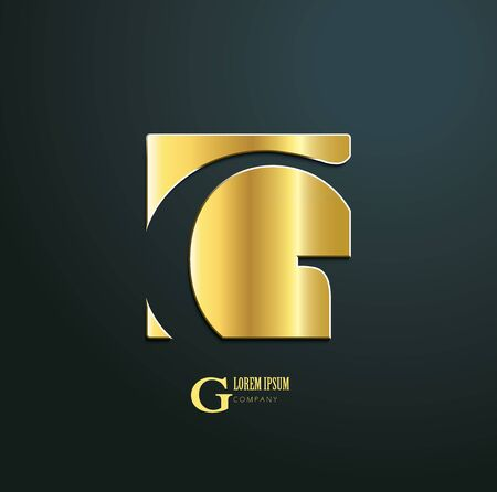 Vector icon. Sign initial letter G. Icon for business company. Creative golden symbol on dark background. 일러스트