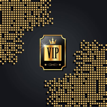 Luxury creative golden vip label on dark background with gold squares. Premium label or card template design. Vector VIP invitation design template.