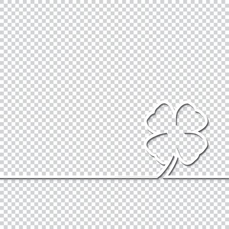 Clover leaf isolated on transparent background. Template for greeting card, invitation, poster, flyer, brochure