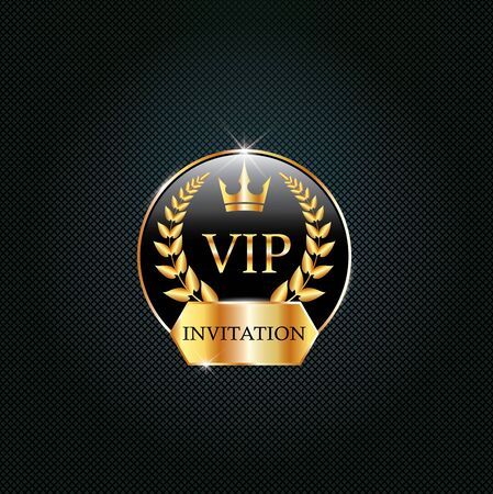 Vip black label with golden crown, laurel wreath. Luxury design for invitation, greeting card,  poster, brochure, label on dark background. Vector premium card design.