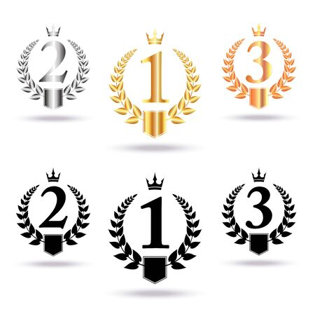 Golden, silver and bronze crowns, laurel wreaths,  with place for text and first, second and third place signs, symbol set.  Winner podium symbols on white background. Vector illustration. 일러스트
