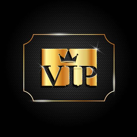 Luxury golden vip label with crown. Premium card template design on dark background. Vector VIP invitation design template.