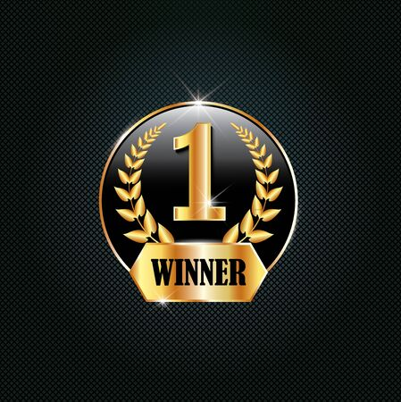 First place symbol, award winner icon. Golden design number one with laurel wreath. Winning competition, success icon. Luxury design for greeting card,  poster, brochure, label on dark background 일러스트