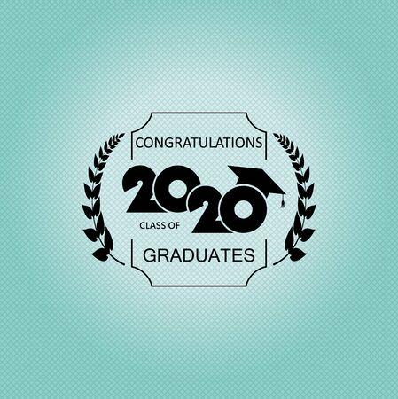 Class of 2020 with Graduation Cap. Design for greeting card, invitation, poster, brochure, label. Flat simple design 일러스트