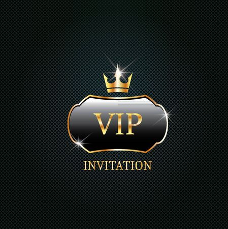Vip black label with golden crown. Luxury design for invitation, greeting card,  poster, brochure on dark background. Vector premium card design.