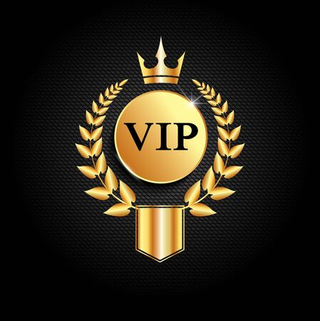 Luxury creative golden vip label. Premium label or card template design on dark background. Golden laurel wreath with  crown and shield.  Vector VIP invitation design template.