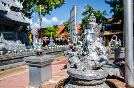 Close up Ancient Silver Statue Ganesha Hindou dieu de Elephan Seigneur de Sucess à Chiang Mai, Thaïlande