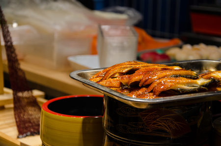 Grilled Unagi (Eel Fish) with Sauce Japan Style Fresh Eel Fish from the Sea.Healthy Food for Who want to Diet Stock Photo