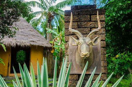 Head of Antelope with Hut and Garden Africa Stlye