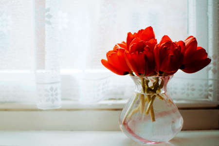 water vase with red roses near a window