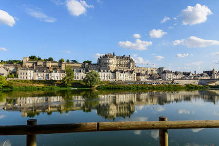 Blois city, view from the bank of the stream. France Editorial
