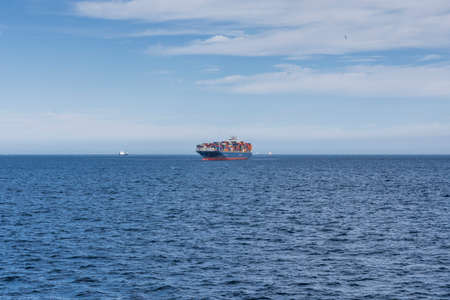 views from the ship in the middle of the crossing, another container ship Stok Fotoğraf