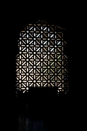 detail of the windows of the beautiful interior of the impressive historical structure 版權商用圖片