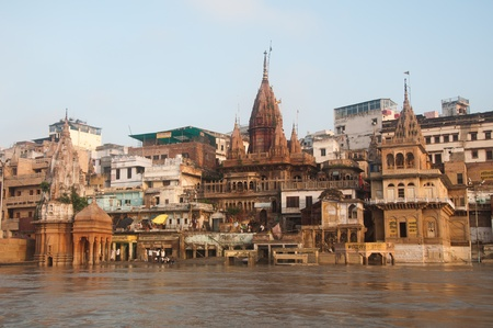 ghat: View of Manikarnika Ghat, Varanasi, India  Taken from the river after monsoon  Stock Photo