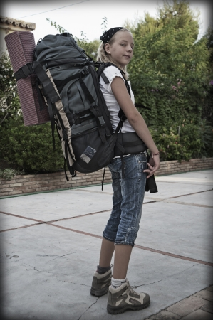 Teenage girl with backpack for summer camp