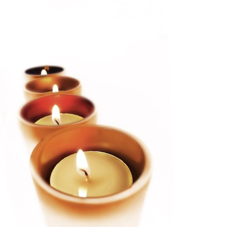Four carry-you guard of crystal with ignited candles  photo