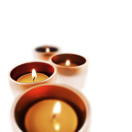Four carry-you guard of crystal with ignited candles