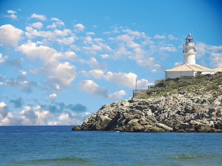 out in town: Lighthouse View Cullera in Valencia   Stock Photo