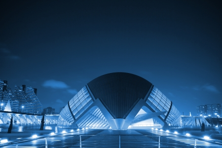 Night photography at the United Nations access to the City of Arts and Sciences in Valencia, Valencia Spain, Europe Editorial