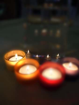 Three carry-you guard of crystal with ignited candles Stock Photo - 13418565
