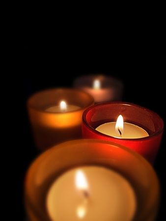 Three carry-you guard of crystal with ignited candles Stock Photo - 13418566