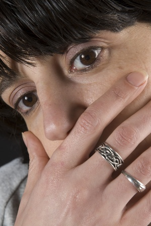 Closeup of a woman with hand on mouth photo
