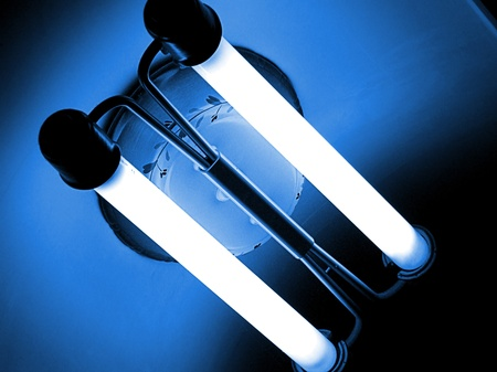 uv: Ceiling lamp in the kitchen with two fluorescent tubes  Stock Photo