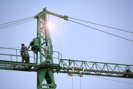 Mounting construction crane
