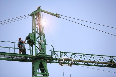 Mounting construction crane