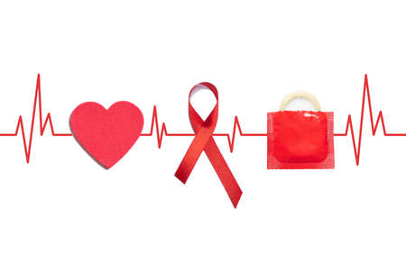 AID red ribbon, condom and heart on medical lifeline on a white background.