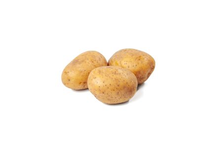 boiled potatoes on a white background and isolated