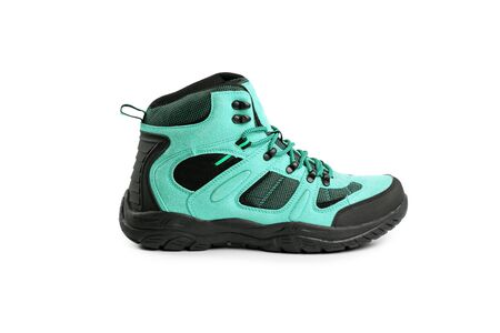 men's winter boots blue for expeditions of travel isolated the a white background Standard-Bild