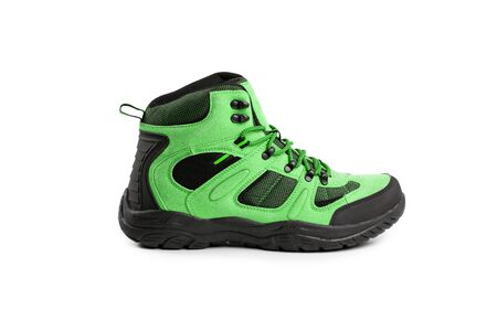 mens winter boots green for expeditions of travel isolated on a white background
