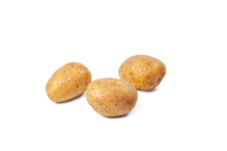 boiled potatoes on a the white background and isolated