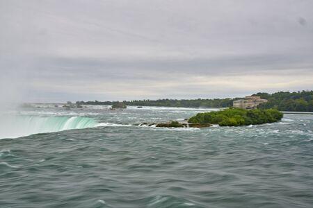 Views to Niagara falls in Canada border to USA border