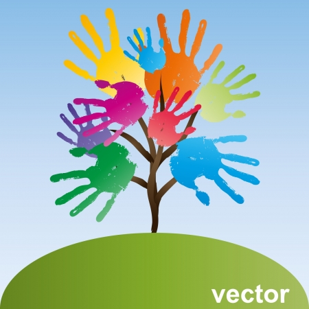 Vector conceptual tree made of hand prints Vector