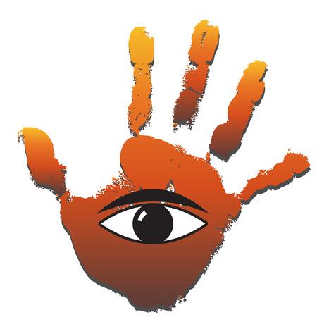 human eye: Conceptual human hand print with an eye symbol Stock Photo