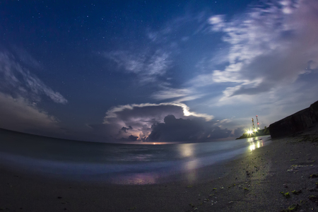 stary: Storm with clouds and lightning over the sea