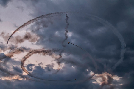 Airplanes on a sunset sky at an air show