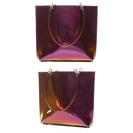 patent leather: Women accessories on white background, chameleon patent leather bag