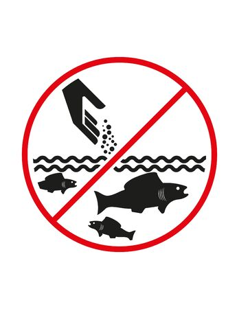 Do not feed fish, feeding not allowed black red white ban sign prohibition symbol