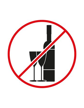 Alcohol not allowed black white red vector sign ban symbol Vettoriali